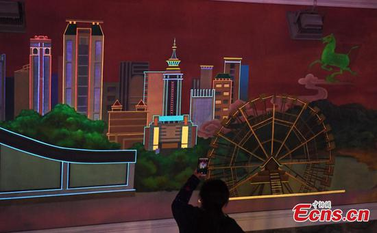 Fluorescent murals add color to Lanzhou